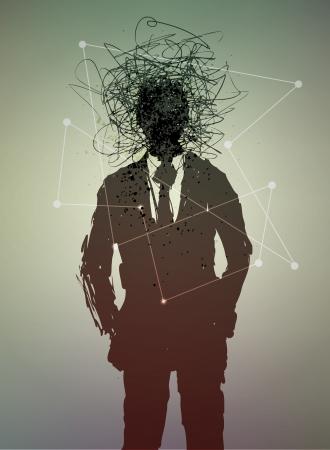 effondrement: Affiche conceptuelle. L'�tat mental de l'homme