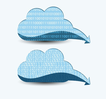 Cloud computing. The concept of storing and transmitting information, media content. Stock Vector - 14276215