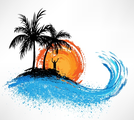 Palm trees and ocean wave. Sunset Vector