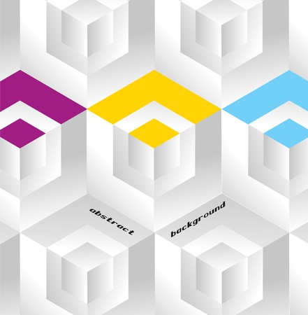 Abstract geometric background with isometric cubes. Book cover Vector