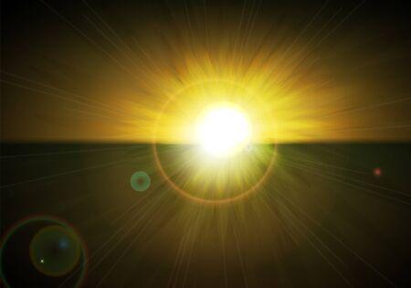 Seascape. Sunset. Vector