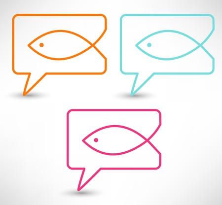 pez cristiano: Religi�n cristiana peces s�mbolo. Concepto burbujas del discurso