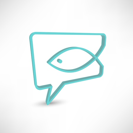 Christian religion symbol fish. Concept speech bubbles Vector