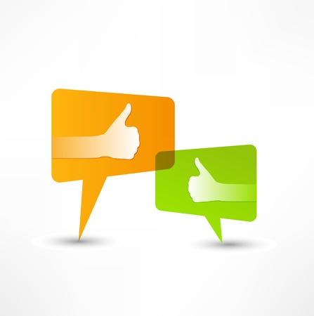 Social media bubble. Thumb Up. Illustration