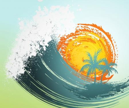 Tropische achtergrond met palm, golven en zon Stock Illustratie