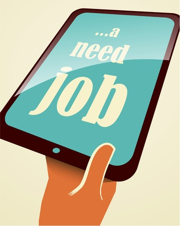 denunciation: I need a job. Tablet PC in hand.  Stock Photo