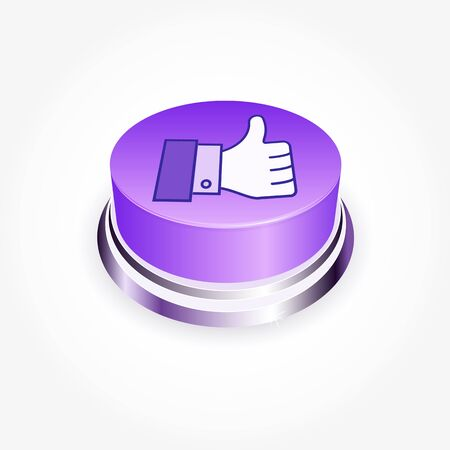 validate: Social media concept.  Like button in perspective. Thumb Up Stock Photo