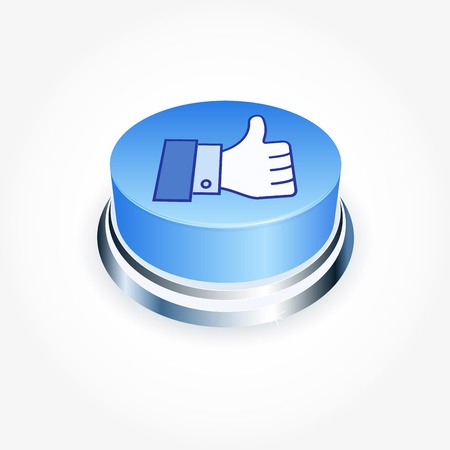 validate: Social media concept. Blue Like button in perspective. Thumb Up Stock Photo