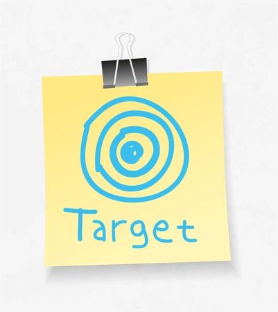 adjuntar: Nota de papel amarillo y adjuntar. Target concepto