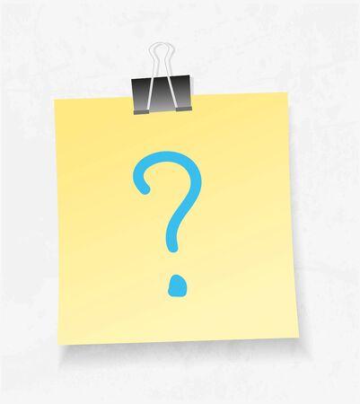 folio: Yellow note paper. Question mark