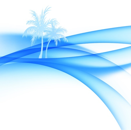blue lagoon: Palm trees and abstract waves of the sea.