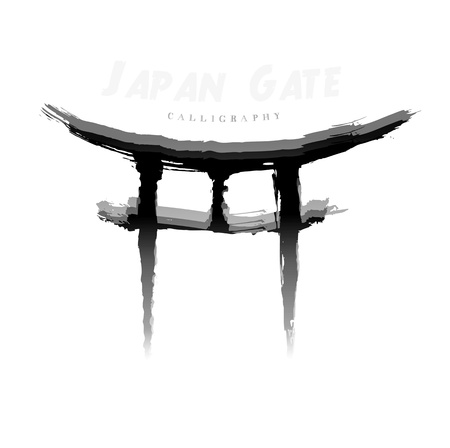 Japan Gate calligraphy. Abstract symbol of hand-drawn photo