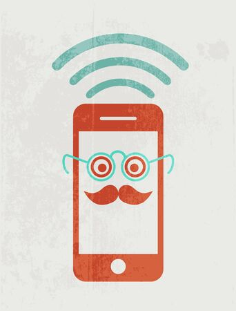 smartphone icon: Mobile phone wearing glasses. Geek concept.