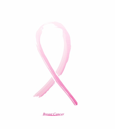 cancer ribbons: Pink ribbon on her chest to support breast cancer cause or AIDS. The abstract concept.