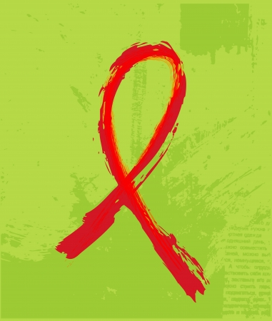 Red Support Ribbon on the grunge background photo