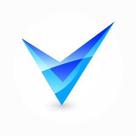 Blue check mark Stock Photo
