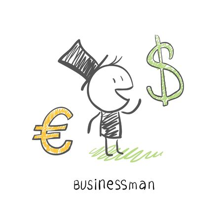 Businessman chooses between two currencies, the Euro and Dolar. Business illustration Stock Illustration - 14275952