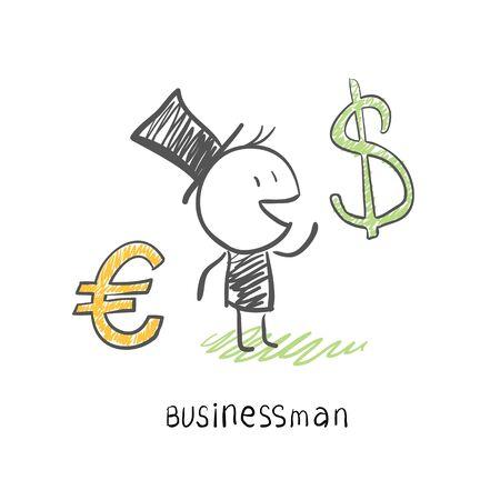 dolar: Hombre de negocios elige entre dos monedas, el euro y Dolar. Empresas ilustración
