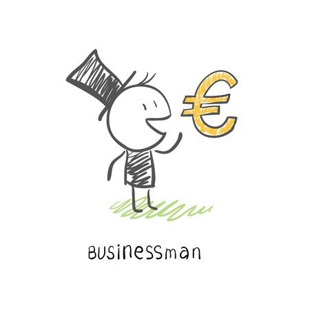 Businessman and Euro symbol. Business illustration. Stock Illustration - 14275829