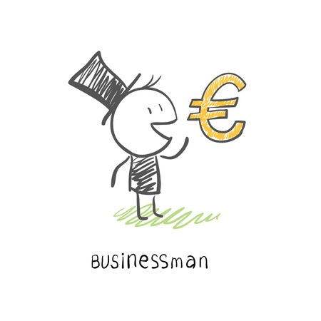 Businessman and Euro symbol. Business illustration. Stock Illustration - 14275829