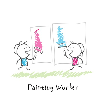 Two people paint rollers. Illustration. illustration