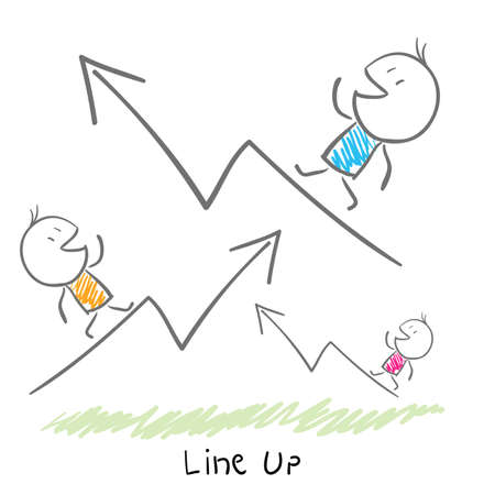 up and down: Conceptual illustration of the growth of the business. Line up.