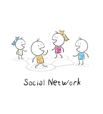 nexus: Community people. Conceptual illustration of the social network