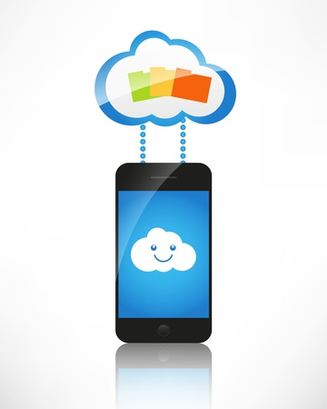 Cloud computing. The concept of reception and transmission of information between the device and the server. photo