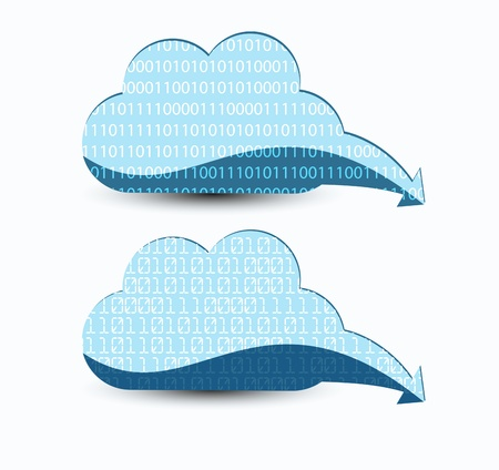 Cloud computing. The concept of storing and transmitting information, media content. photo