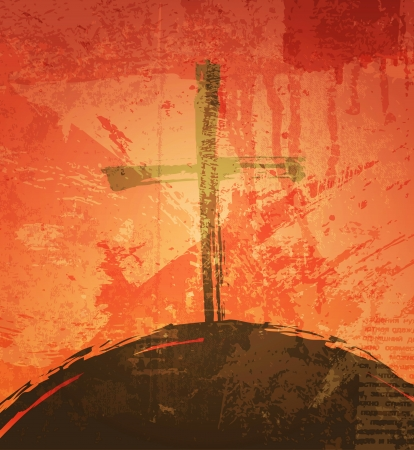 The cross on the grunge background. The biblical concept. Sunset photo