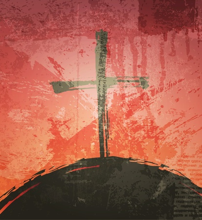 grunge cross: The cross on the grunge background. The biblical concept. Sunset Stock Photo
