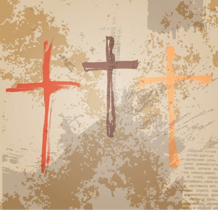 grunge cross: Three Crosses on the grunge background. The biblical concept of the crucifixion