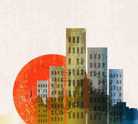 Apocalyptic retro poster. Sunset. Grunge background. photo