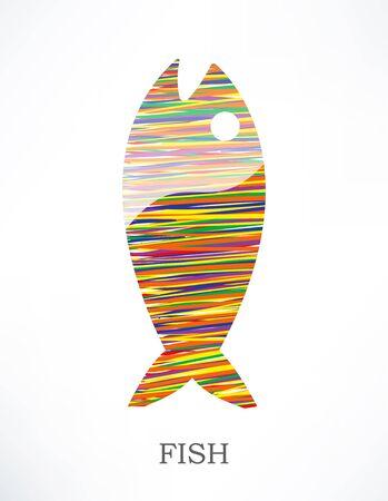 Icône de poisson. Illustré avec des rayures colorées. Banque d'images - 14276299