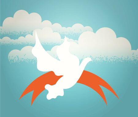 The dove hovering in the sky against a background of clouds. Retro illustration. illustration