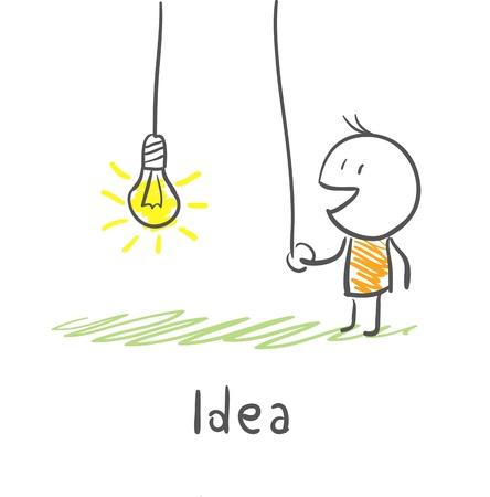 head light: Una persona que incluye una bombilla de luz. El concepto de la idea. Ilustraci�n.