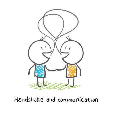 socialize: The two men shake hands, and socialize. Illustration.