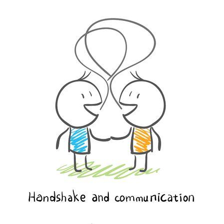 handshaking: The two men shake hands, and socialize. Illustration.
