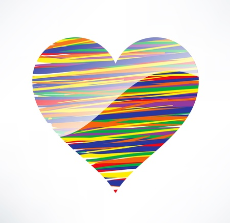 valentin: Heart  icon. Illustrated with colored stripes. The concept of love.