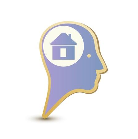 built: Home man. Label sticker Stock Photo
