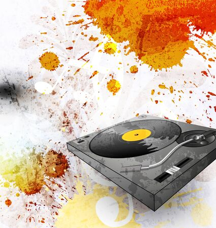 vinyl disk player: abstract grunge background, Illustration of a turntable
