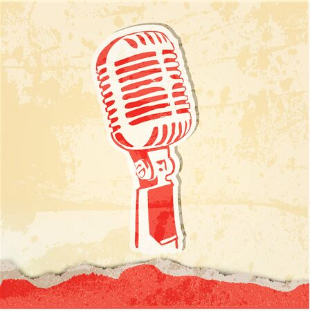 microfono antiguo: grunge cartel del concierto con el micrófono Foto de archivo