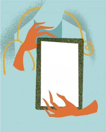 Doctor holding a tablet. Medical illustration. Stock Illustration - 14276415
