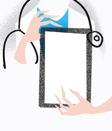 Doctor holding a tablet. Medical illustration. Stock Illustration - 14276389