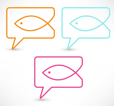 icthus: Christian religion symbol fish. Concept speech bubbles