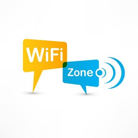 Bulles WiFi parole de la zone Banque d'images - 14275761