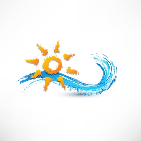 sea waves and rising sun illustration illustration