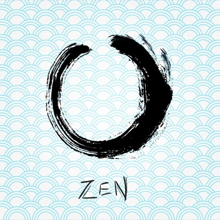 Zen calligraphy brushstroke circle. Oriental character. photo