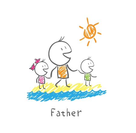 father: Father and children on the beach Illustration