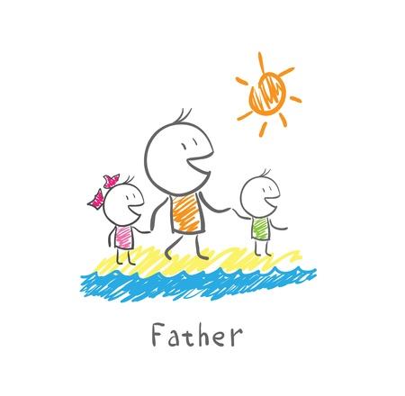 day of father: Padre e figli sulla spiaggia